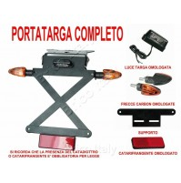 KIT144 PORTATARGA MOTO inclinabile 5 FRECCE CARBON a 12V LUCE TARGA catadiottro